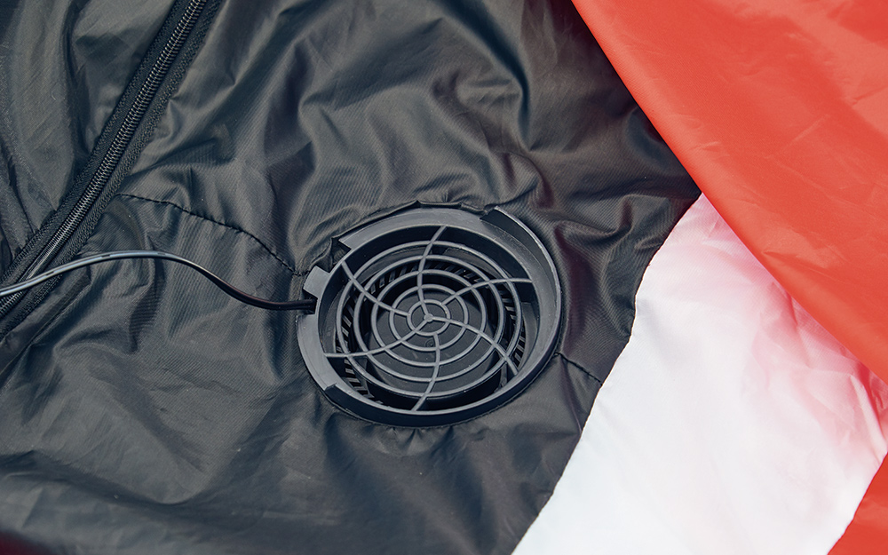 A fan on a holiday inflatable.