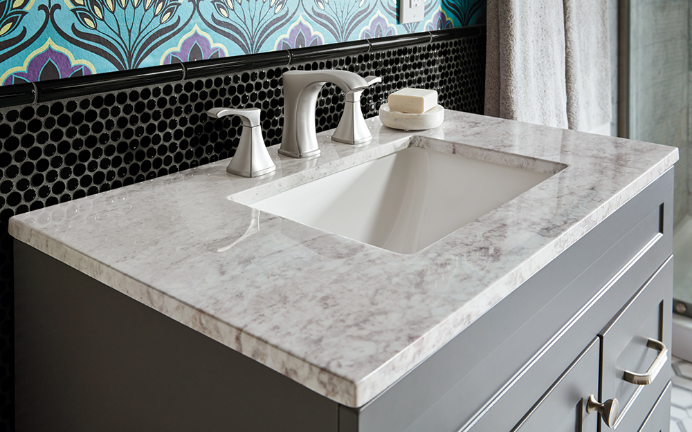 how to choose a bathroom vanity top the home depot rh homedepot com bathroom vanity countertop tower bathroom vanity countertop tower