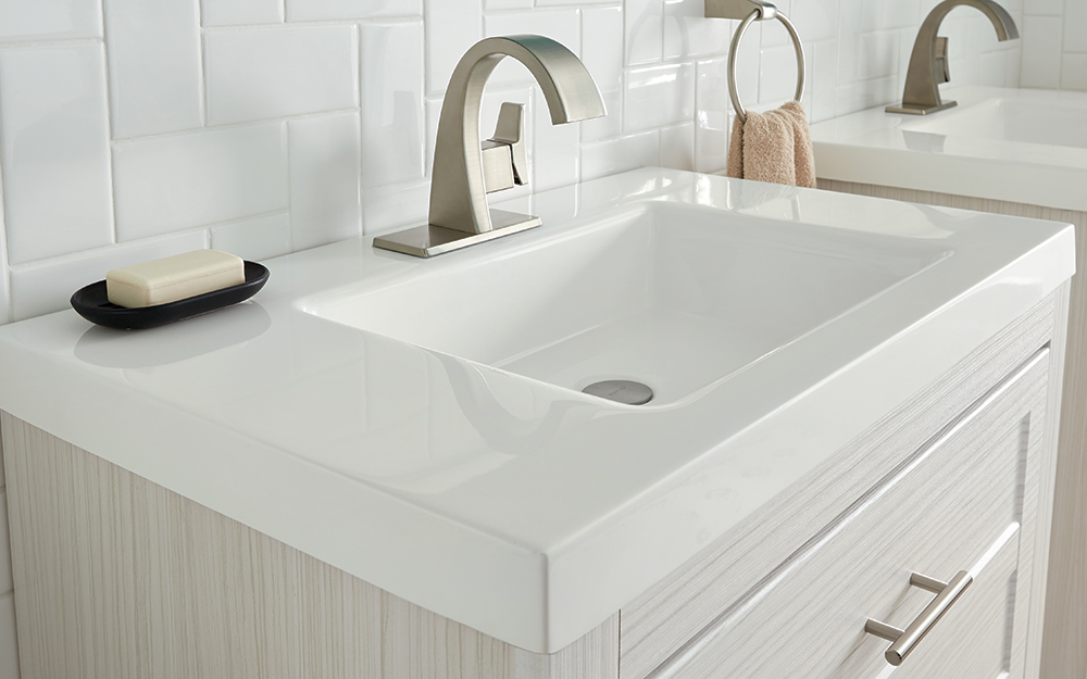how to choose a bathroom vanity top the home depot rh homedepot com bathroom vanity countertop without sink bathroom vanity countertop depth