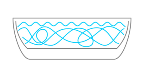 illustration of a whirlpool bathtub with agitated water swirling around