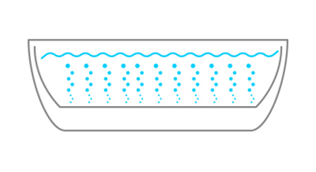 illustration of a bathtub with air jets bubbling up through the water