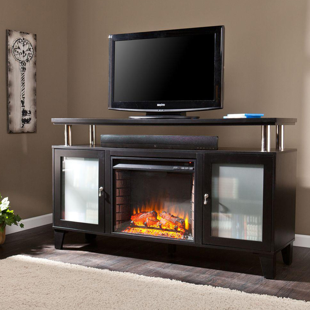An electric fireplace TV stand in a living room.