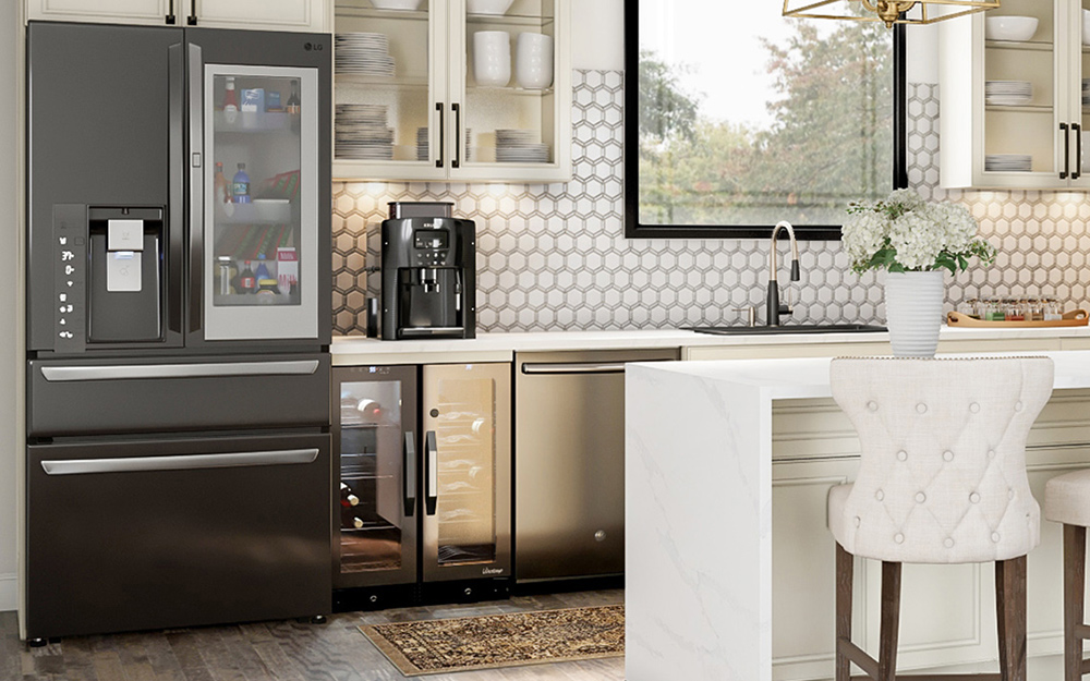 in-door screen refrigerator in modern kitchen