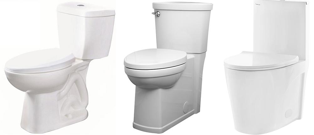 Hồ sơ của nền nhà vệ sinh cho thấy một cái bẫy nhìn thấy được, một cái bẫy giấu kín và một nhà vệ sinh có chân tường.