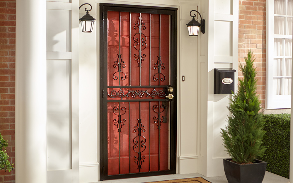 A security door installed in front of an exterior door.