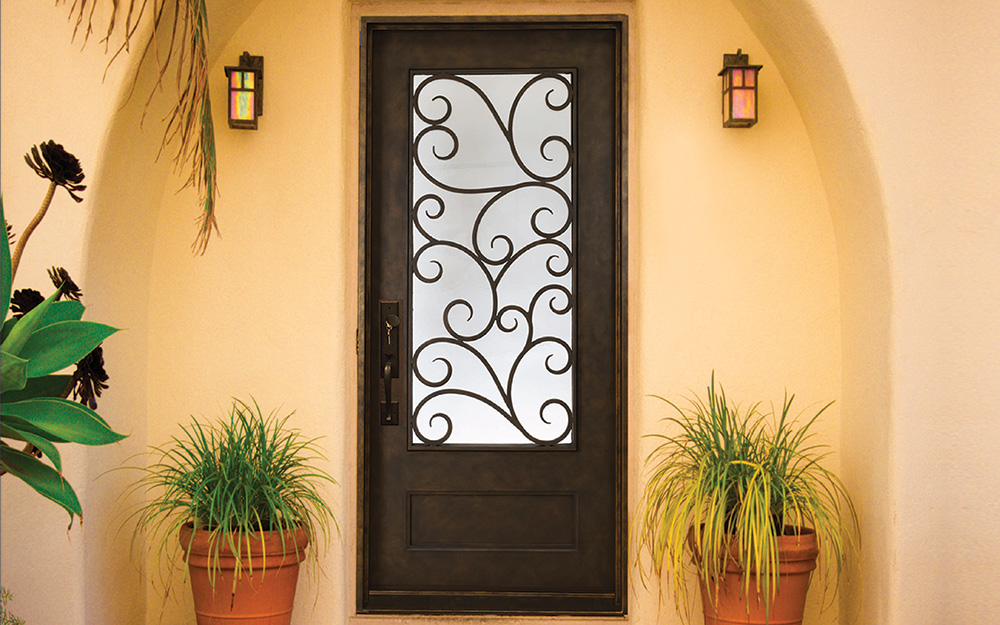 An iron exterior door.