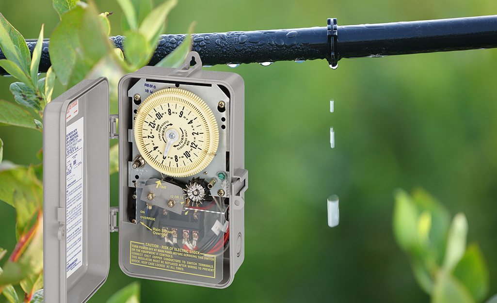 A electronic irrigation timer.