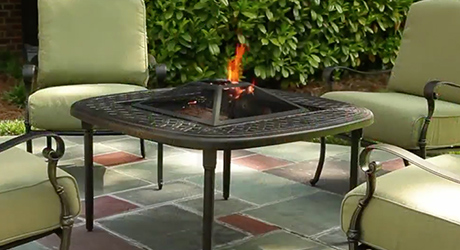 A fire pit on a patio