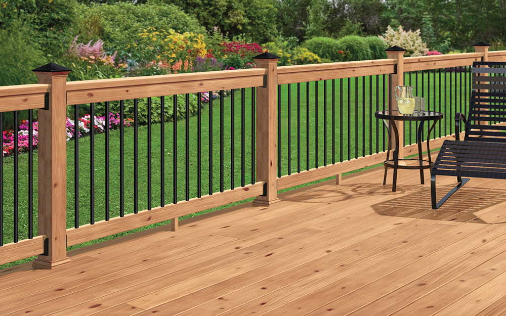 A deck made of cedar stained to bring out its natural color.