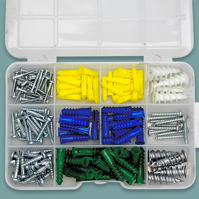 A kit containing a variety of drywall anchors.