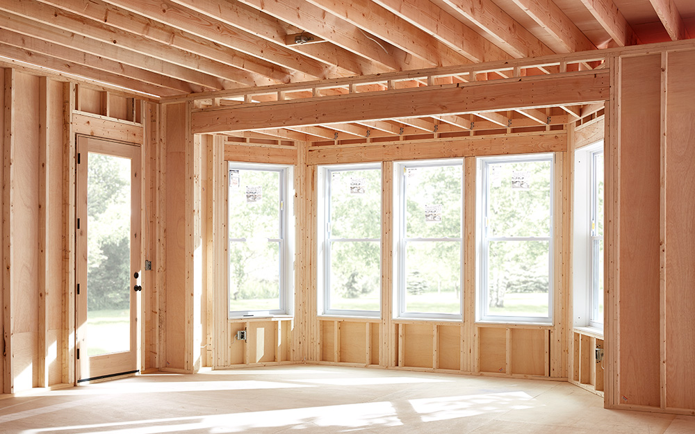 Framing and structural lumber installed in a home.