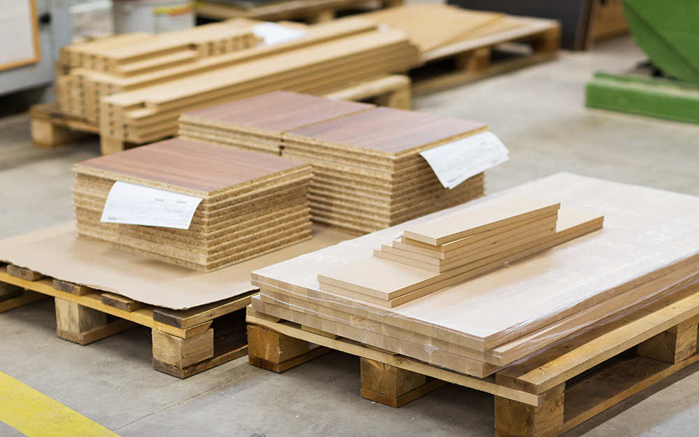 MDF stacked on pallets.