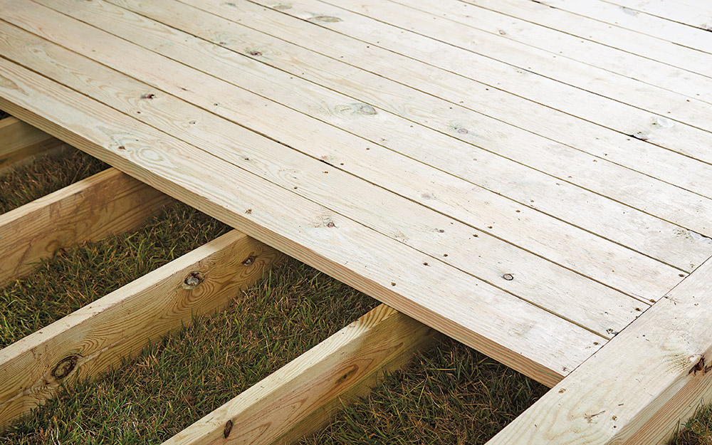 A new deck missing a few boards.