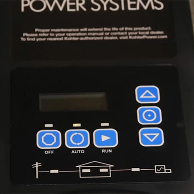A transfer switch controls the flow of electricity to a generator.