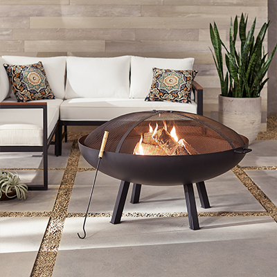 a fire pit in an outdoor living space