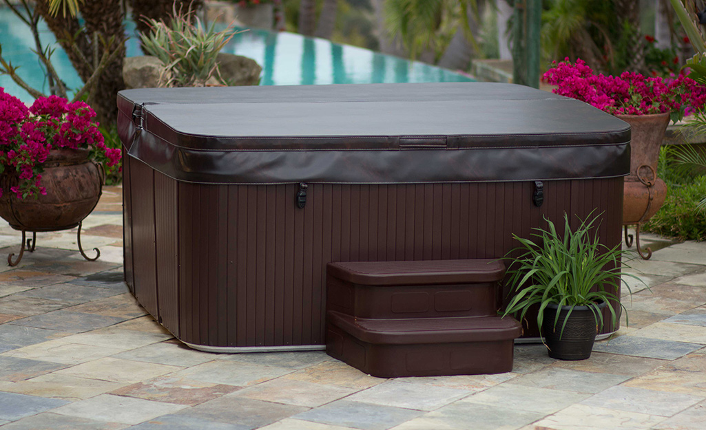 A hot tub with a clean closed lid.