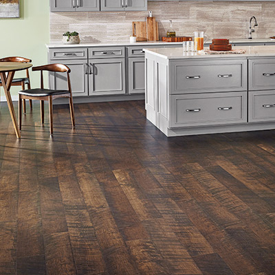 Wood-look laminate kitchen floor