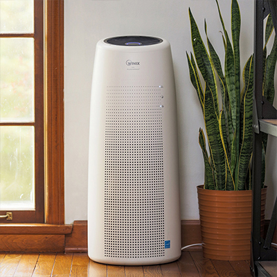 an air purifier next to a plant and a window in a home