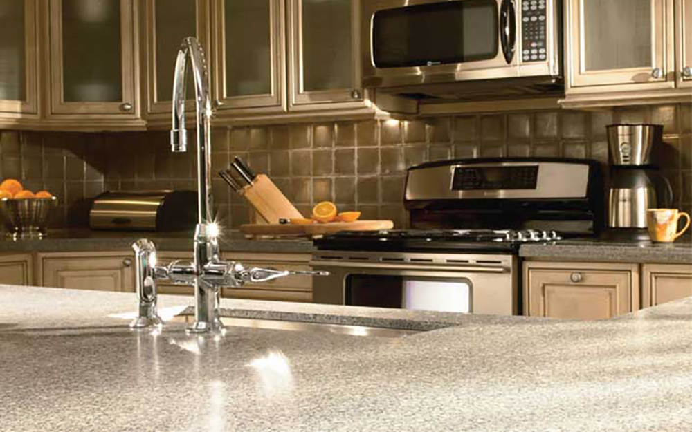 A kitchen counter with sink