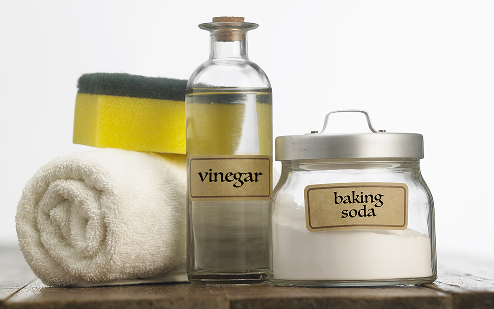 Vinegar and baking soda on a table