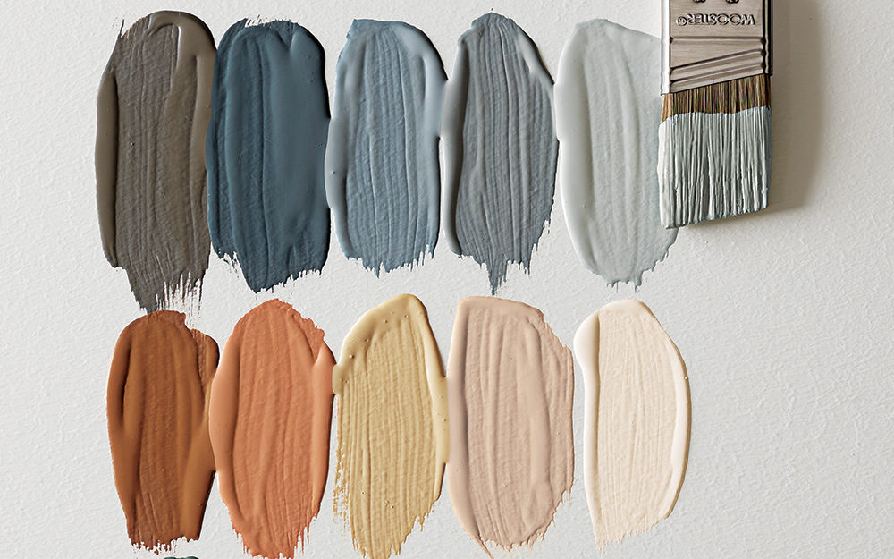 Samples of different colors of paint adhere to a surface.