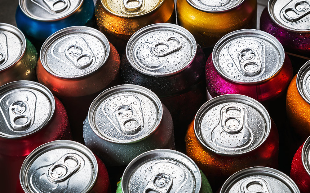 Cans of flavored soda.