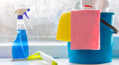 Window cleaning supplies sitting together on a window sill.