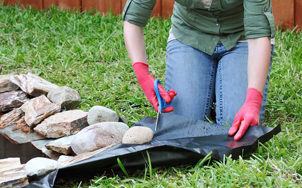 Hide the liner - Build Backyard Pond