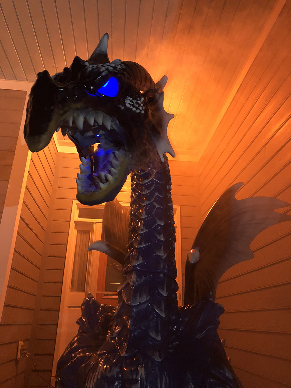 A giant dragon with glowing eyes.