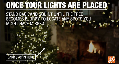 Diagram instructing you to test for bare spots on the Christmas tree.