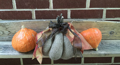 A pumpkin looks very stylish with ribbon and fabric decorating the exterior.