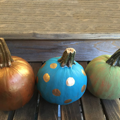 A trio of painted pumpkins; learn to decorate pumpkins without carving.