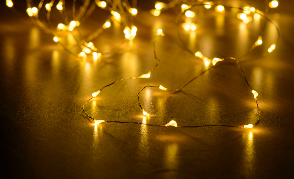 Fairy lights to be used for Christmas decor.