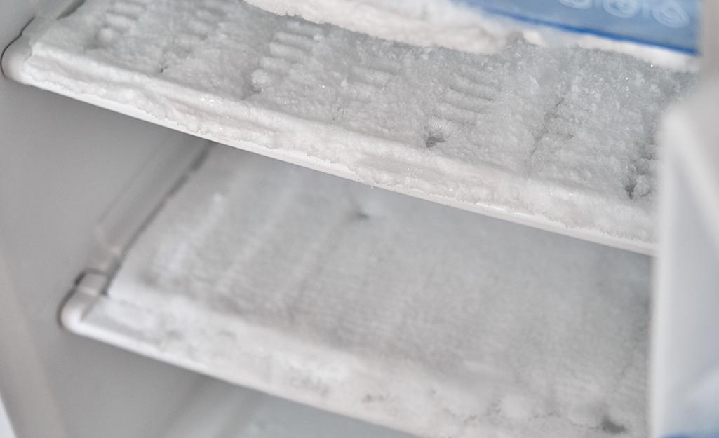 The icy interior of a mini fridge.