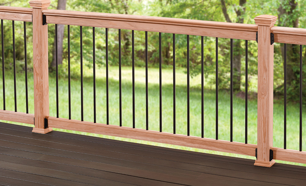 A completed wooden deck railing.