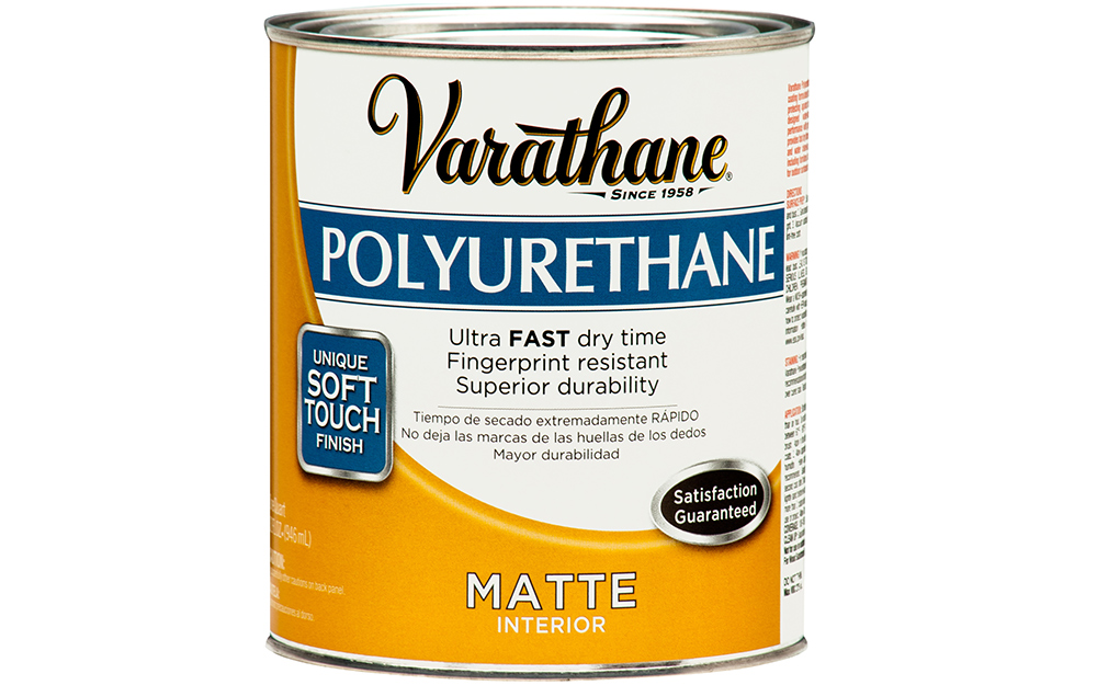 A can of polyurethane on a white background.