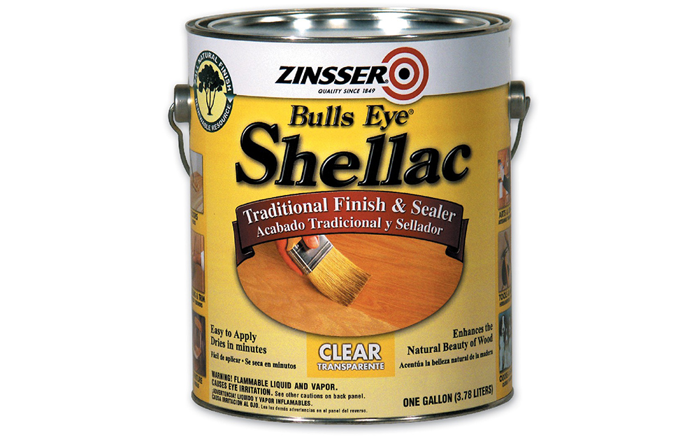 A can of shellac on a white background.