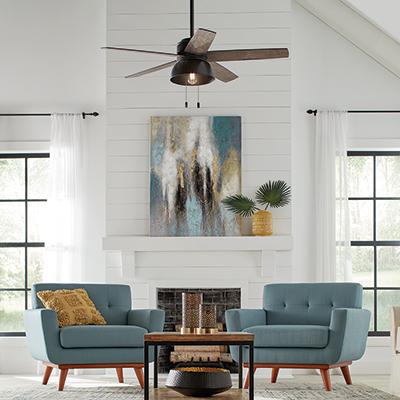 A ceiling fan in a living room