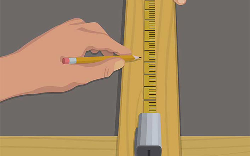 illustration of a person measuring and marking a piece of wood