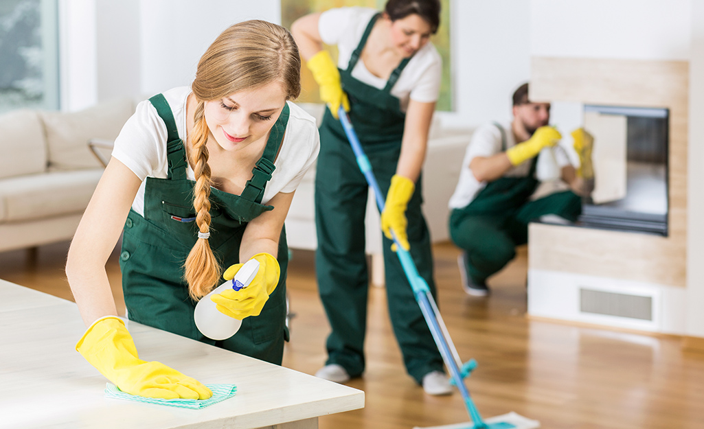 People cleaning their space.
