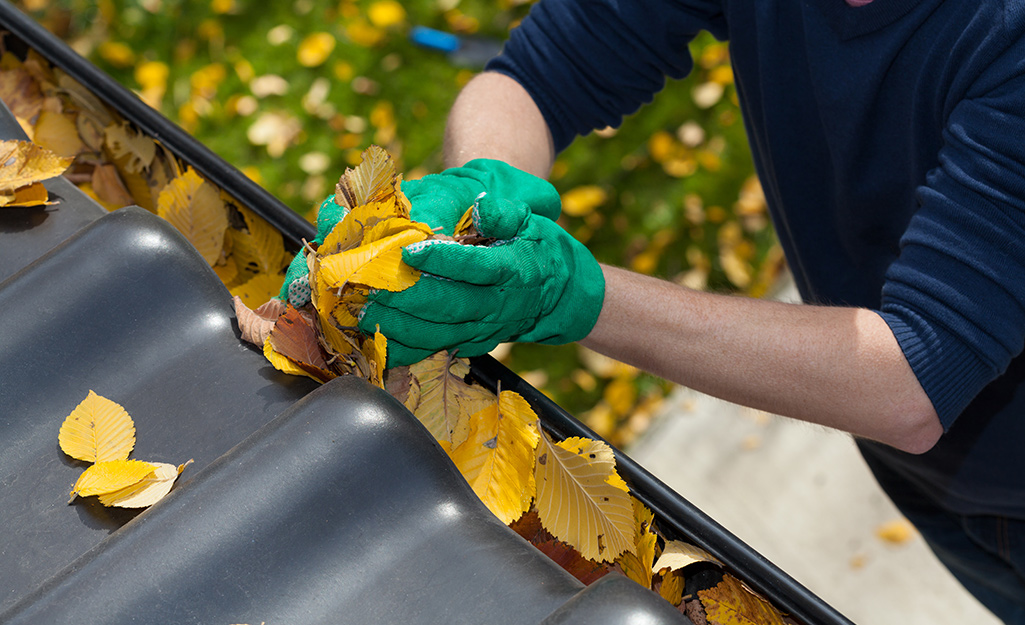 Person cleaning leaves out of their gutter.
