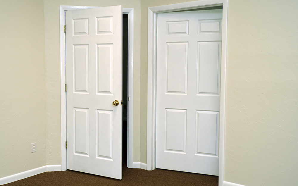 two white doors that open in different directions
