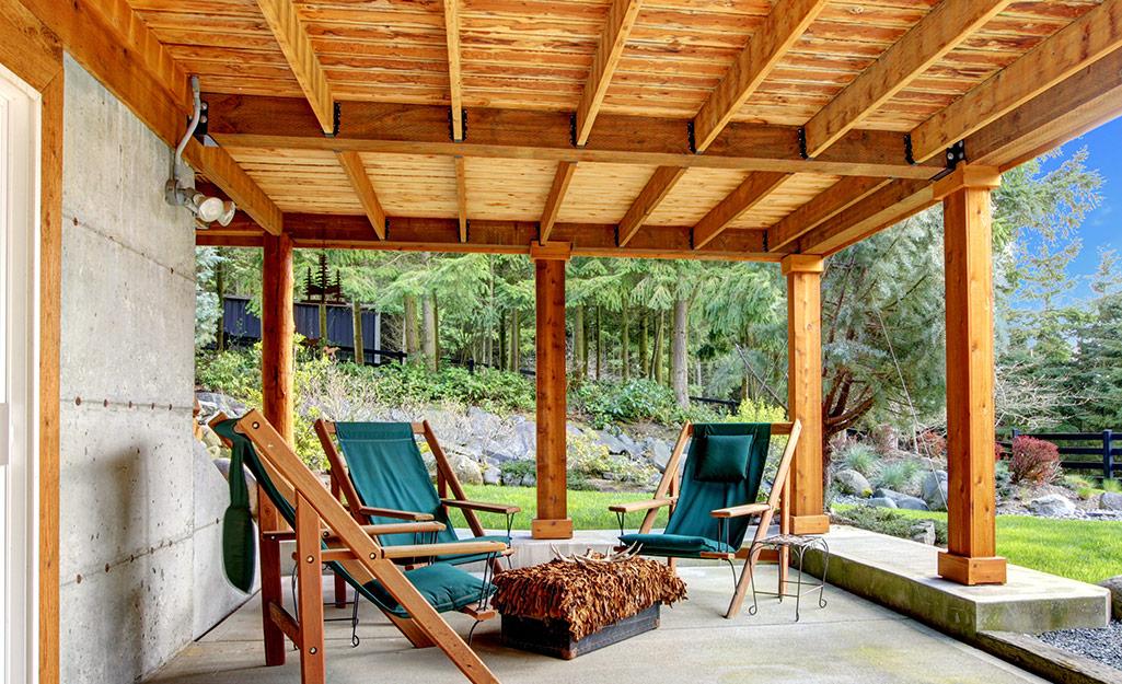 A patio set under a deck.