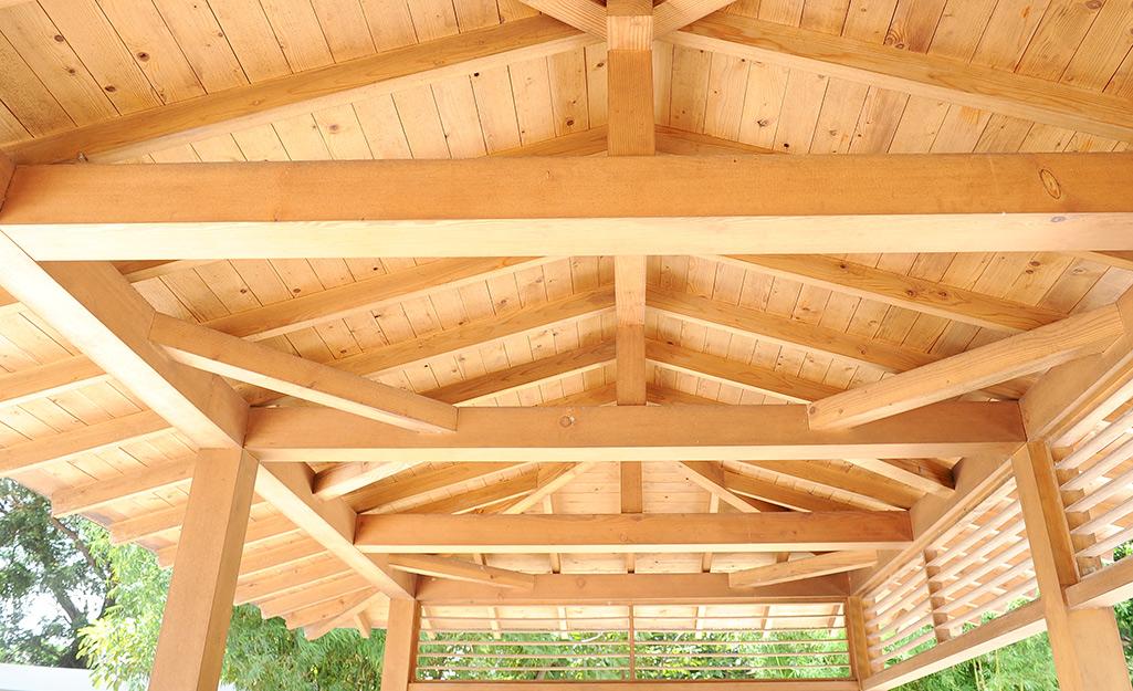 The underside of wood pavilion.