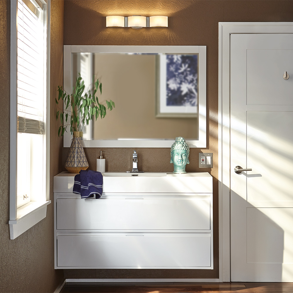 An installed bath vanity in a bathroom