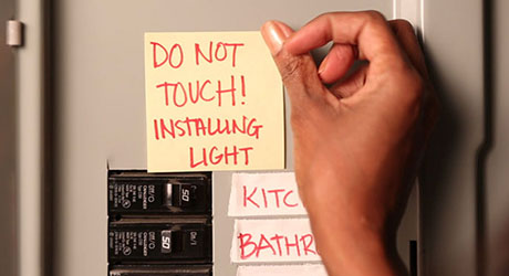 Turn power off - Install Bath Vanity Light