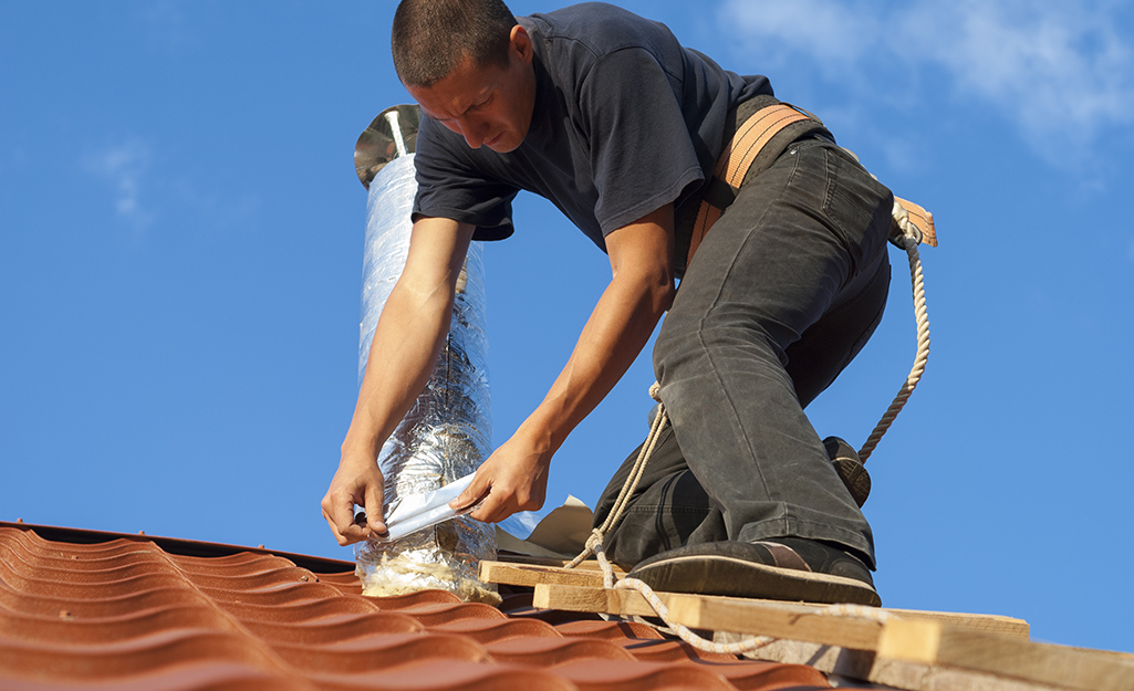 Cut away shingles - Install Bath Fan