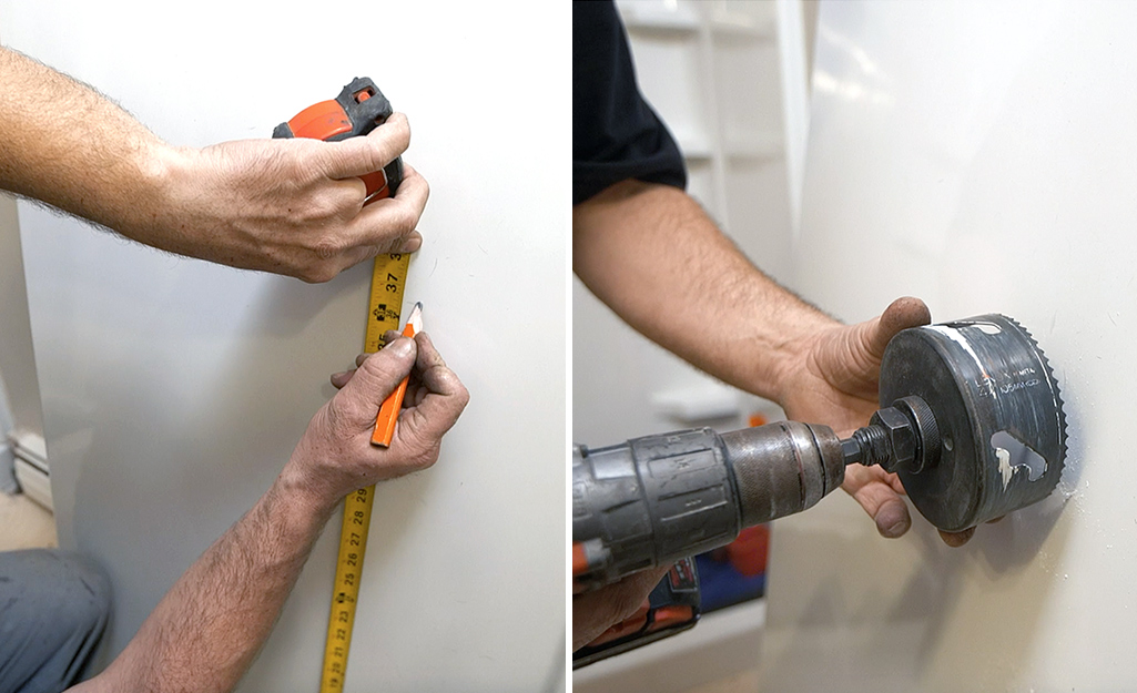 Dual image of a person marking the center of the front shower panel and of a person using a hole saw to cut a valve hole.