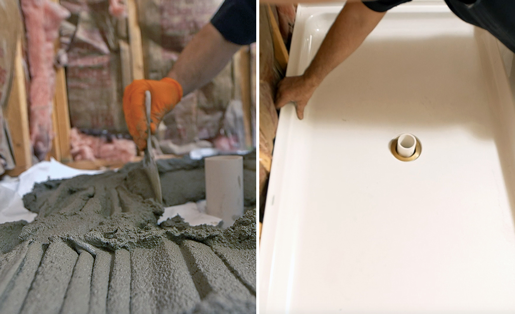 A dual image of a person laying mortar and of a person setting in a shower pan.