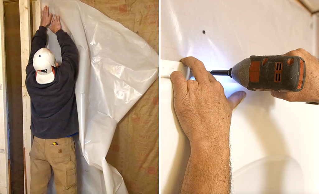 Dual image of a person installing a vapor barrier and screwing the panel flange into the wall stud.